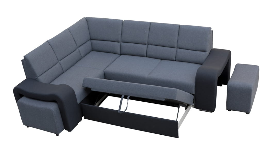 wohnlandschaft eckgarnitur sofa fabian mit schlaffunktion bettkasten und hocker ebay. Black Bedroom Furniture Sets. Home Design Ideas