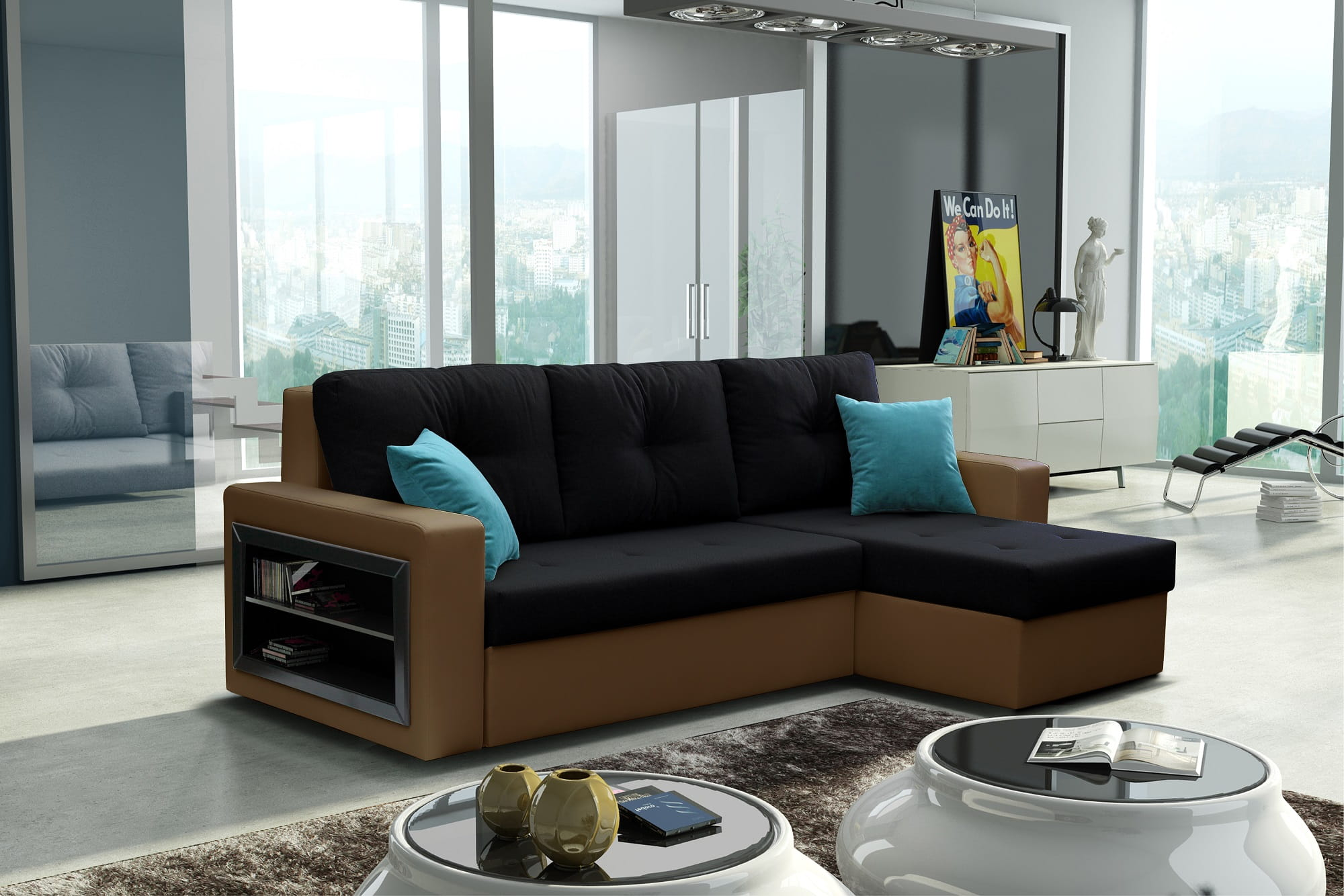 wohnlandschaft eckgarnitur sofa forte mit schlaffunktion bettkasten schrank top ebay. Black Bedroom Furniture Sets. Home Design Ideas