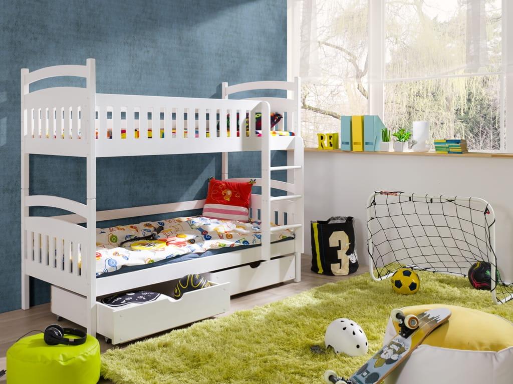 etagenbett kinderbett hochbett marta stockbett mit matratzen 80x180 ko. Black Bedroom Furniture Sets. Home Design Ideas