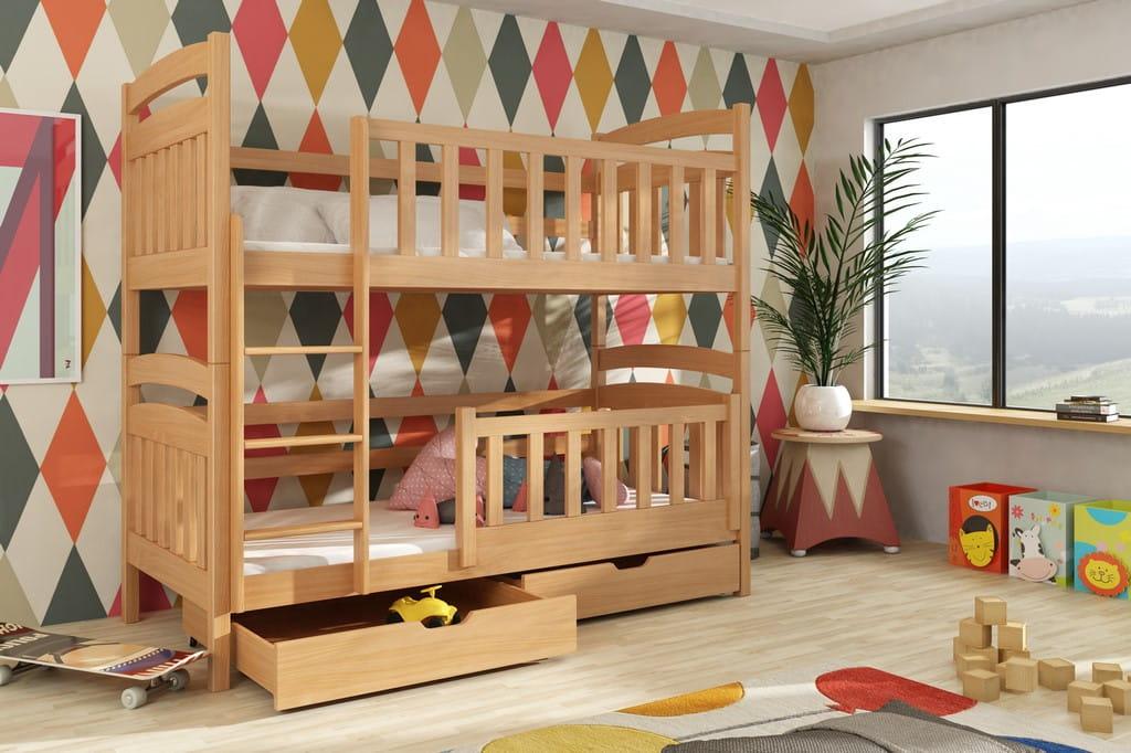 etagenbett kinderbett hochbett peter stockbett mit matratzen 80x180 ko lackiert ebay. Black Bedroom Furniture Sets. Home Design Ideas