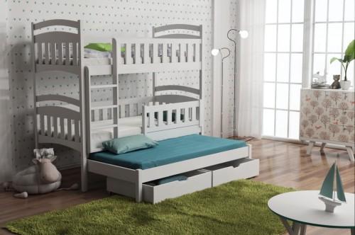 etagenbett lina f r 3 personen deine moebel 24 einfach einrichten. Black Bedroom Furniture Sets. Home Design Ideas