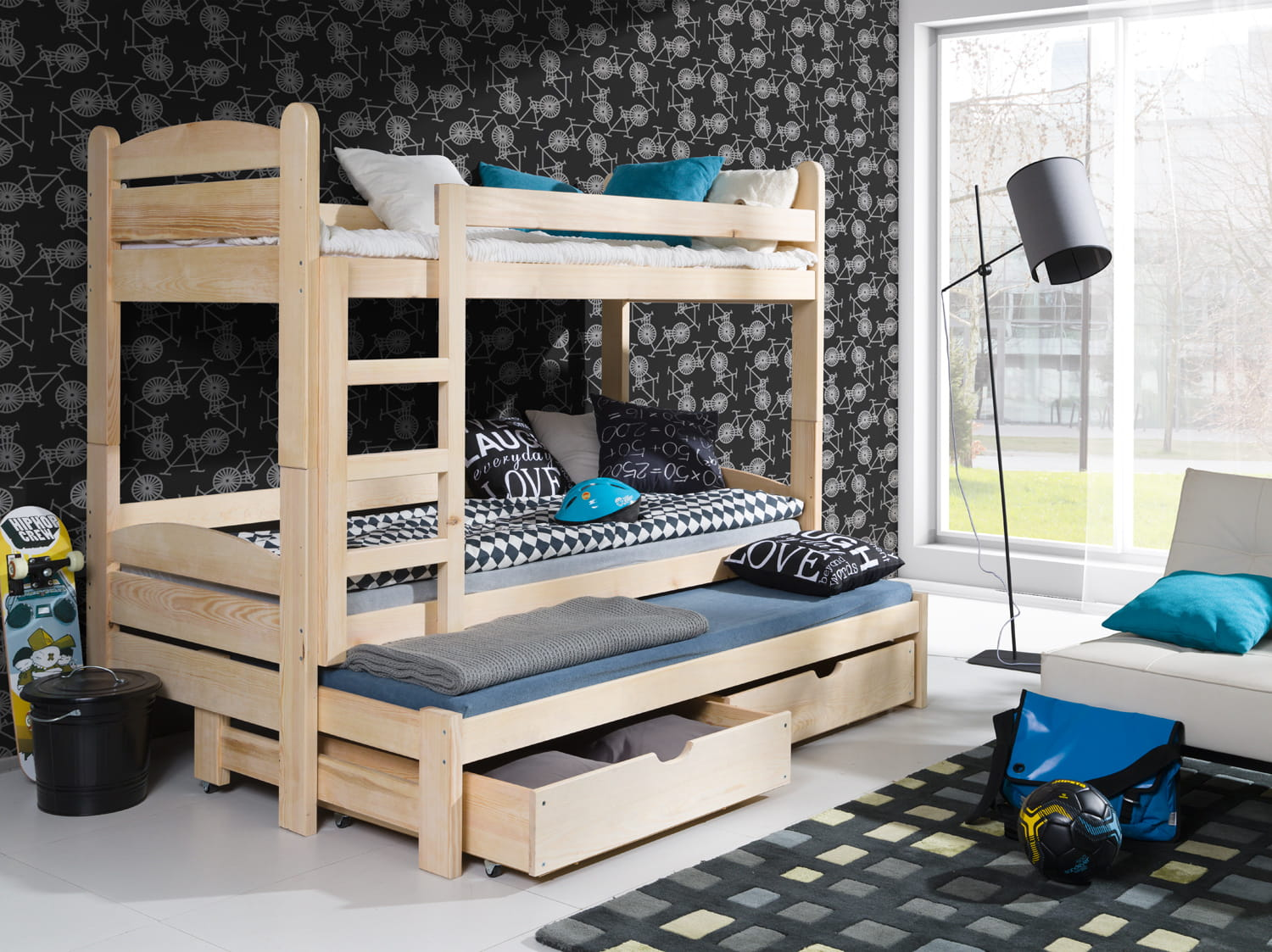 etagenbett luis etagenbett kinder etagenbett f r 3 personen. Black Bedroom Furniture Sets. Home Design Ideas