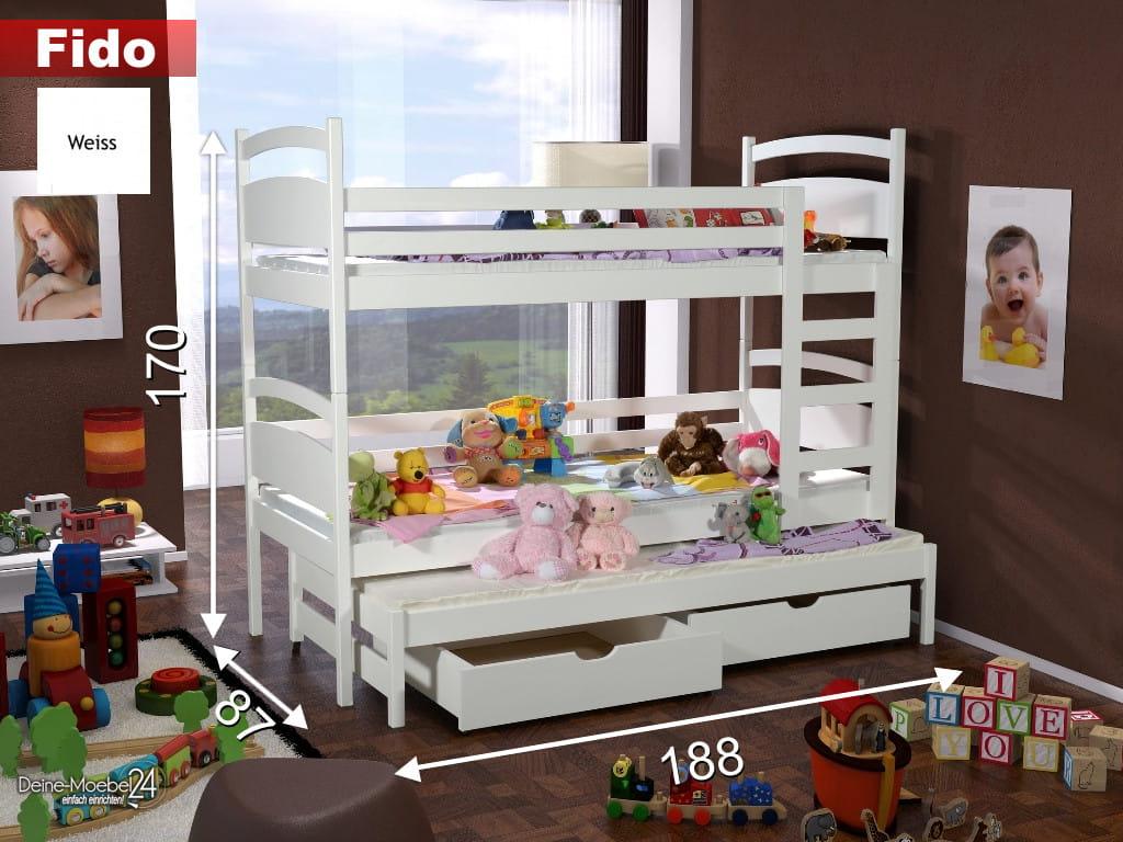 etagenbett fido ii etagenbett kinder etagenbett f r 3. Black Bedroom Furniture Sets. Home Design Ideas