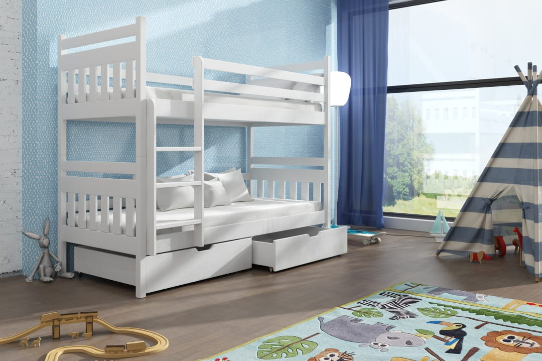 etagenbett kinderbett hochbett adam stockbett mit matratzen 90x200 ko ebay. Black Bedroom Furniture Sets. Home Design Ideas
