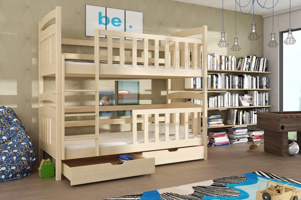 etagenbett kinderbett hochbett seba stockbett mit matratzen 90x200 ko lackiert ebay. Black Bedroom Furniture Sets. Home Design Ideas