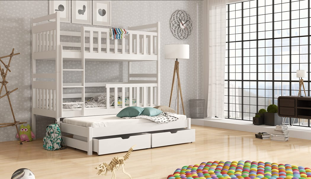 etagenbett kinderbett hochbett kaja stockbett mit matratzen 90x200 ko lackiert ebay. Black Bedroom Furniture Sets. Home Design Ideas