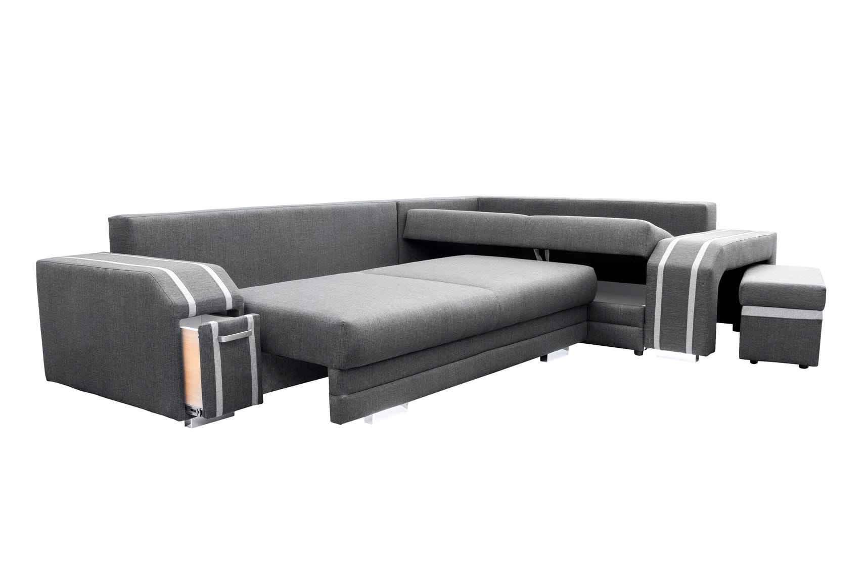 wohnlandschaft eckgarnitur sofa andreas mit schlaffunktion bettkasten und hocker ebay. Black Bedroom Furniture Sets. Home Design Ideas