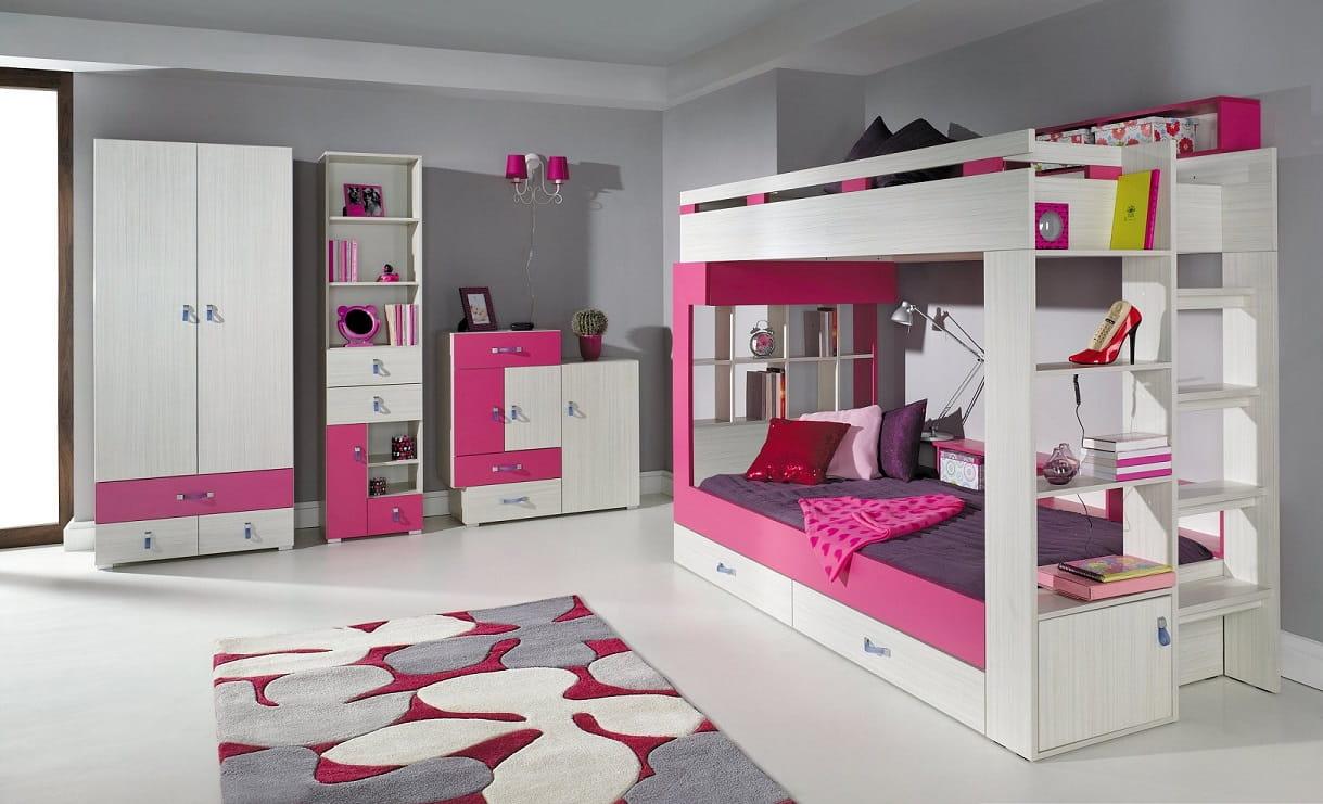 Etagenbett Pink : Etagenbett mit rutsche beni l kinderbett spielbett bett weiß stoff