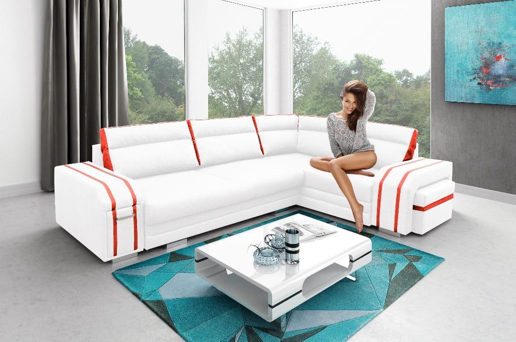 wohnlandschaft eckgarnitur sofa andreas mit schlaffunktion bettkasten und hocker ebay. Black Bedroom Furniture Sets. Home Design Ideas