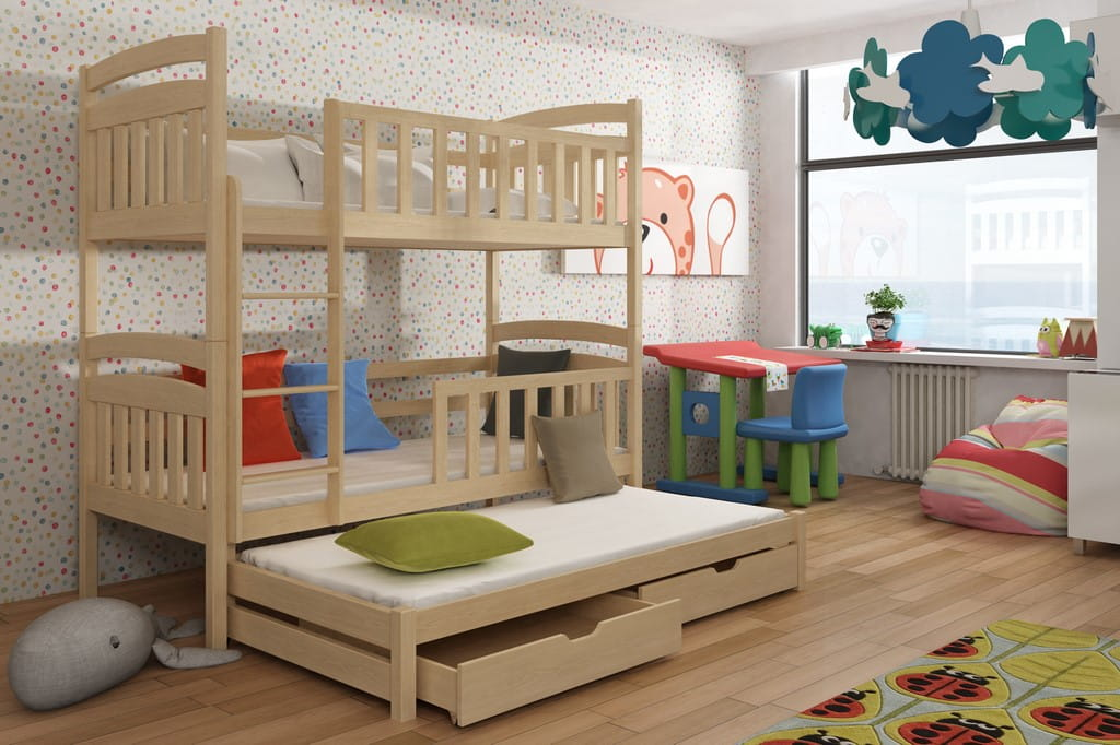 etagenbett kinderbett hochbett miki stockbett mit matratzen 80x180 kologisch ebay. Black Bedroom Furniture Sets. Home Design Ideas