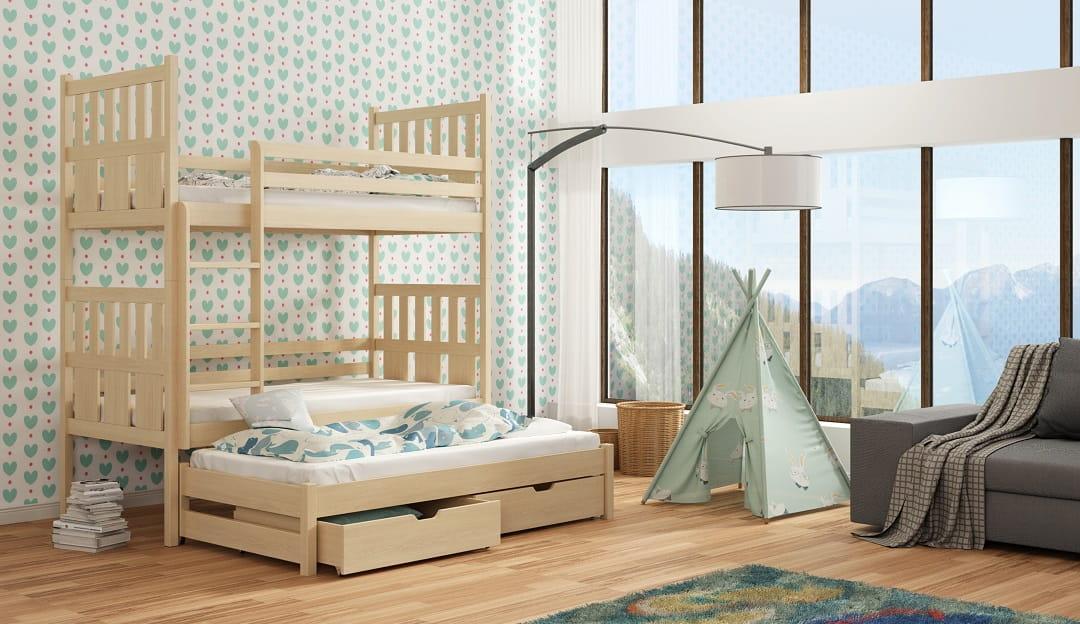 etagenbett kinderbett hochbett jonas stockbett mit matratzen 90x200 ko lackiert ebay. Black Bedroom Furniture Sets. Home Design Ideas